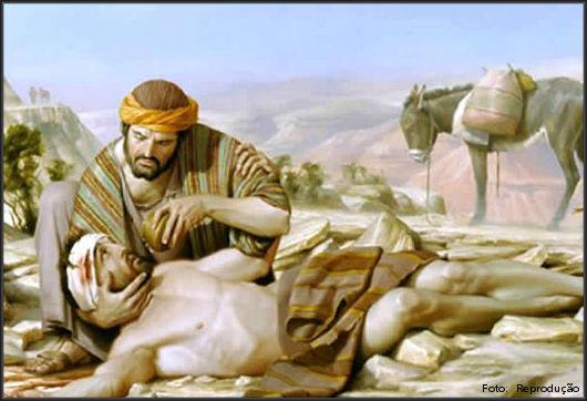bom samaritano prestando socorro no deserto