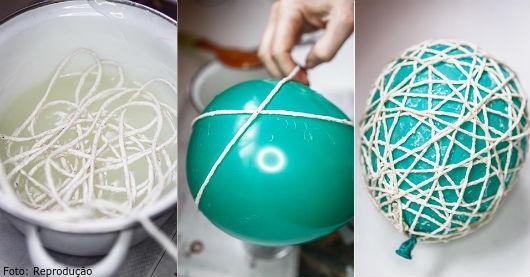 Ovo de páscoa de barbante e balão - aprenda a fazer