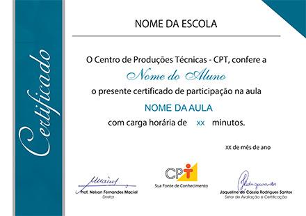 Certificado para os alunos