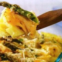 Frango com batata doce e aspargo