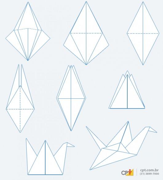 Origami - como fazer o pássaro Tsuru de papel