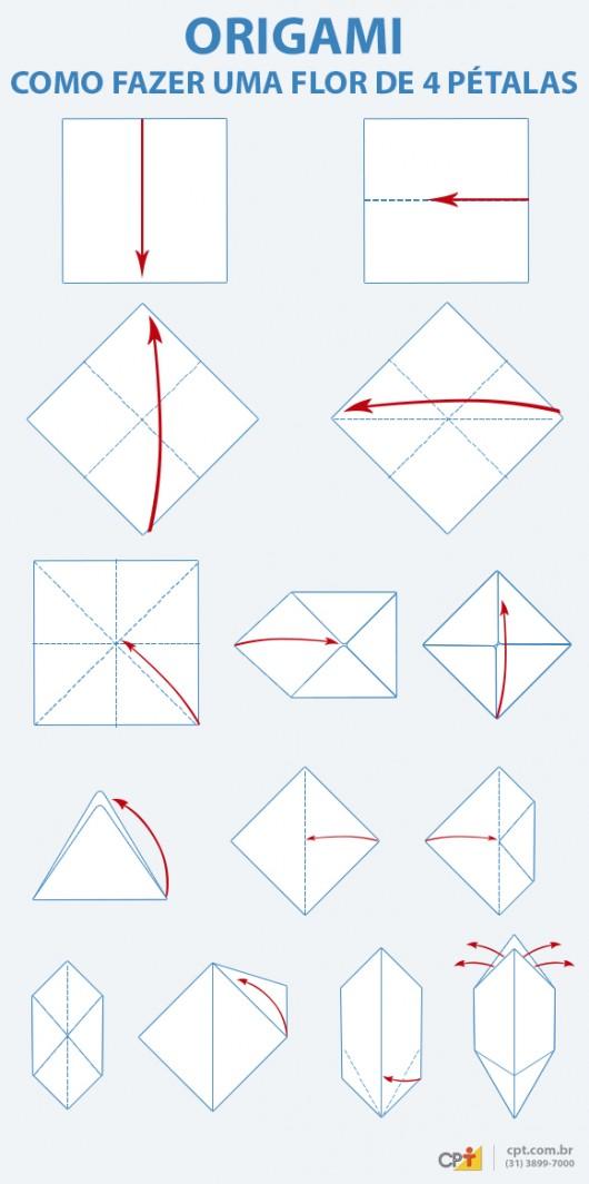 Origami - aprenda a fazer flor de 4 pétalas em papel
