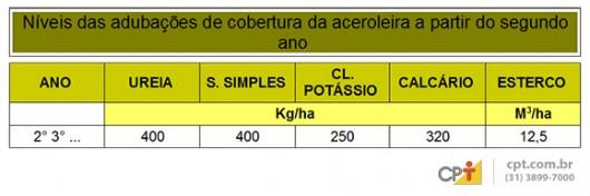 Produção de acerola - tipos de irrigação e de adubação