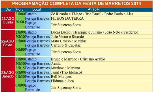 Programação completa da Festa de Peão de Barretos 2014