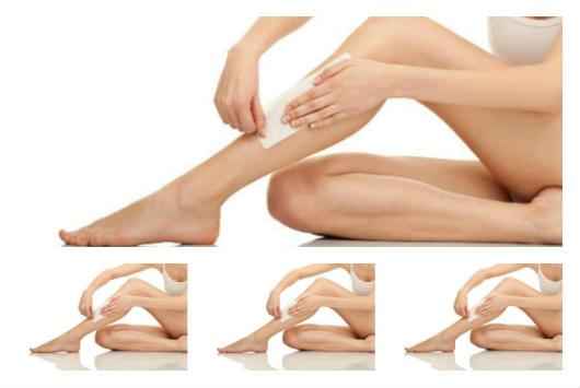 Foto de pernas em processo de depilação