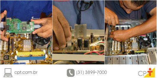 técnico em informática realizando a manutenção corretiva em um computador