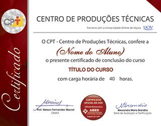 Veja um exemplo ilustrativo do Certificado de Conclusão de Curso (frete).