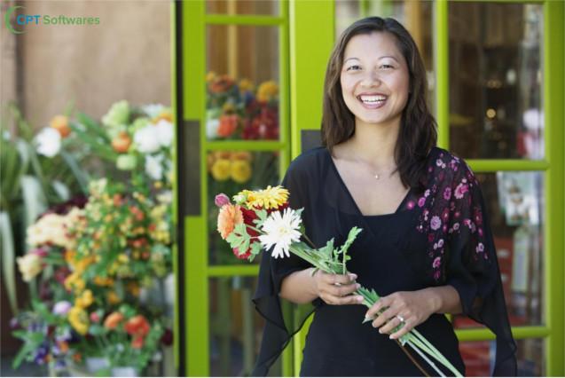 Cliente com flores