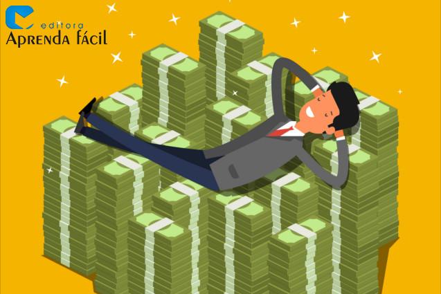 Homem deitado em uma pilha de dinheiro