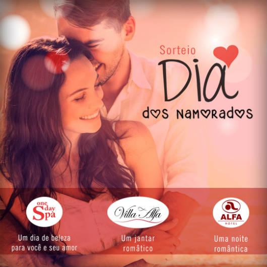 No Dia dos Namorados, ganhe uma noite romântica no Alfa Hotel, um jantar sofisticado no Villa Alfa e um dia de beleza no One Day Spa! Saiba como!