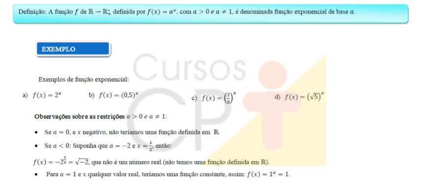 Exemplo de função exponencial   Artigos CPT