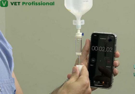 Utilize um cronômetro para regular a quantidade de gotas do equipo por segundo.