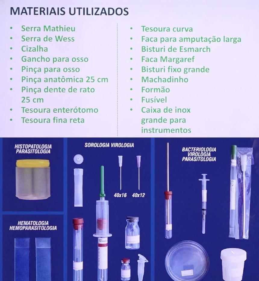 Foto: Materiais utilizados na necropsia e na coleta de material para análise Artigos CPT