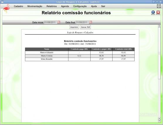 Tela Relatório comissão funcionários - CPT Loja de Roupas e Calçados