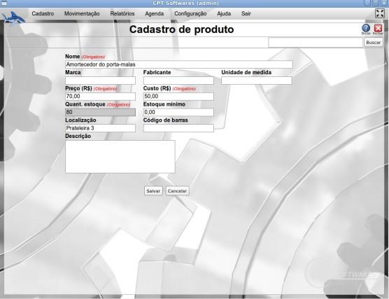Cadastro de Produto - localização - CPT Autopeças