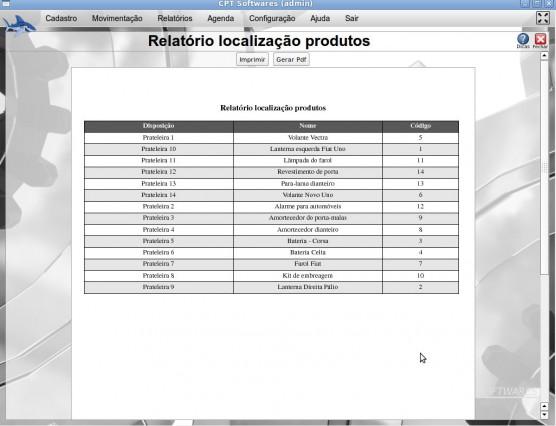 Relatório de localização de produtos - Loja de Autopeças