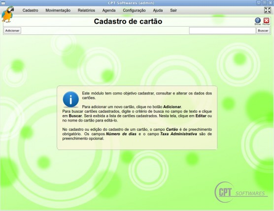 Cadastro Cartões - software CPT Loja de Celulares
