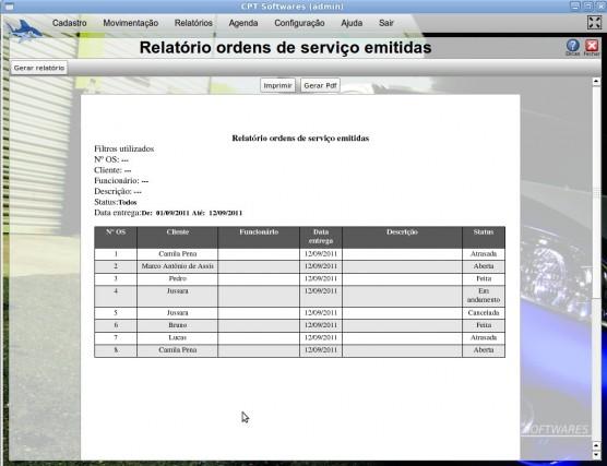 Relatórios de Ordens de Serviços Emitidas