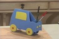 O carrinho porta – lápis é muito usado como brindes em festa infantis