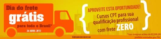 Promoção Dia do Frete GRÁTIS para os Cursos CPT, válida para todo o Brasil.