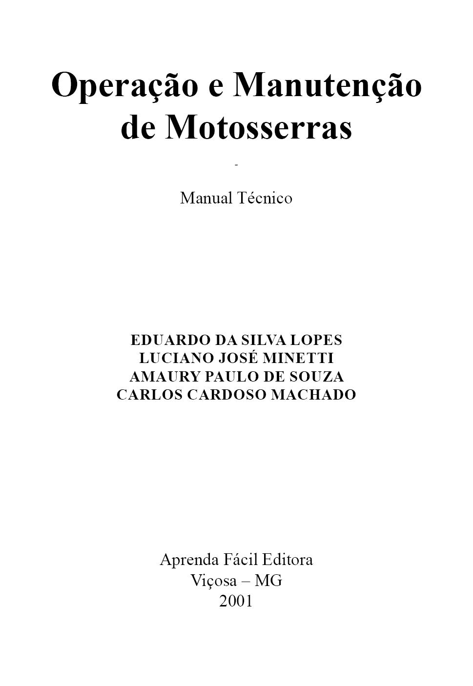 Operação e Manutenção de Motosserras - Manual Técnico