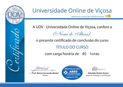 Frente do certificado da UOV – Universidade Online de Viçosa